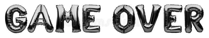 Λέξεις GAME OVER από μαύρα φουσκωτά μπαλόνια απομονωμένα σε λευκό φόντο Μπαλόνια Helium μαύρο φύλλο αλουμινίου σχηματίζοντας παιχ ελεύθερη απεικόνιση δικαιώματος