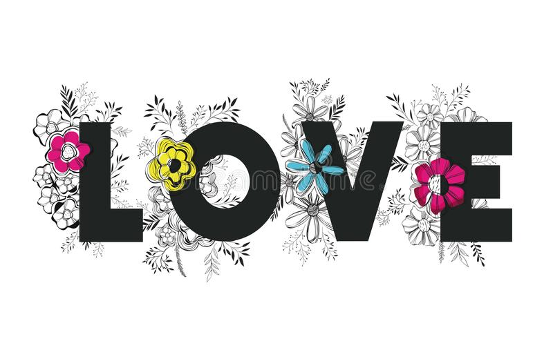 Λέξη αγάπης με τη χειροποίητη πηγή και τη floral διακόσμηση διανυσματική απεικόνιση