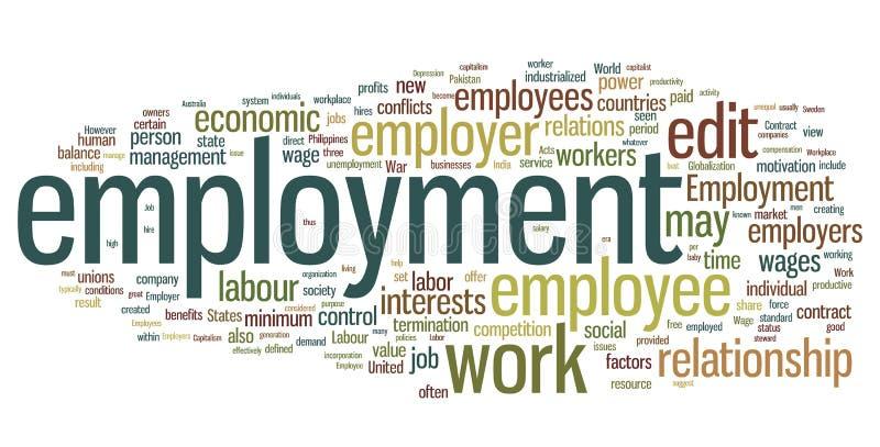 λέξη απασχόλησης σύννεφων διανυσματική απεικόνιση