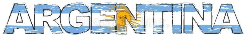 Λέξη ΑΡΓΕΝΤΙΝΗ με την αργεντινή εθνική σημαία κάτω από το, στενοχωρημένο grunge βλέμμα διανυσματική απεικόνιση