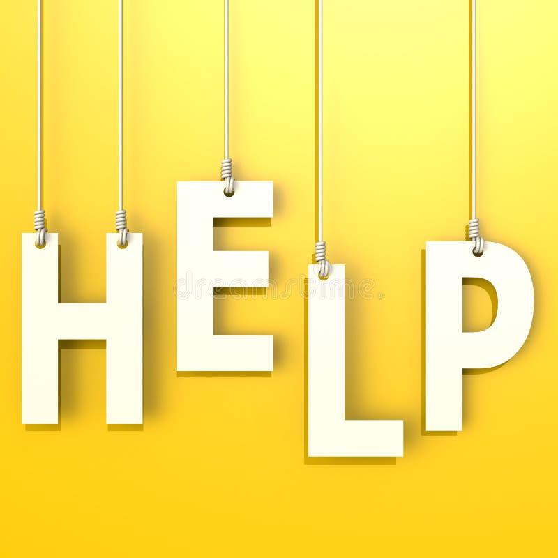 Λέξη βοήθειας στο κίτρινο υπόβαθρο απεικόνιση αποθεμάτων