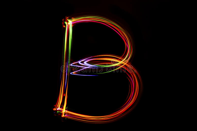 Λέξη ` Β ` που γράφει από το φως στοκ εικόνες με δικαίωμα ελεύθερης χρήσης