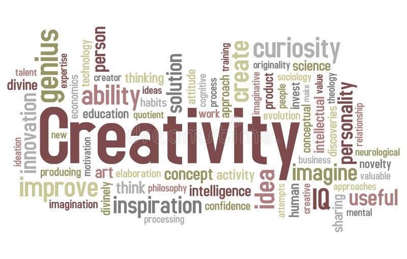 λέξη δημιουργικότητας σύν&n διανυσματική απεικόνιση