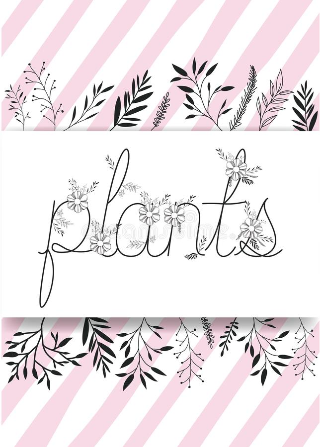 Λέξη εγκαταστάσεων με τη χειροποίητη πηγή και τη floral διακόσμηση ελεύθερη απεικόνιση δικαιώματος