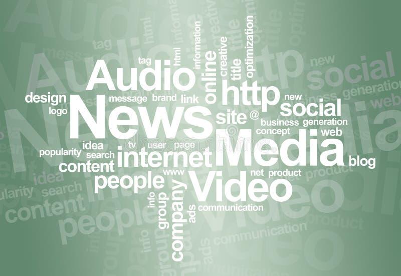 λέξη ειδήσεων μέσων σύννεφ&omega διανυσματική απεικόνιση