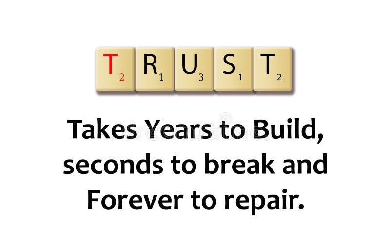 Λέξη εμπιστοσύνης φραγμούς μιας στους ξύλινους απεικόνισης ελεύθερη απεικόνιση δικαιώματος