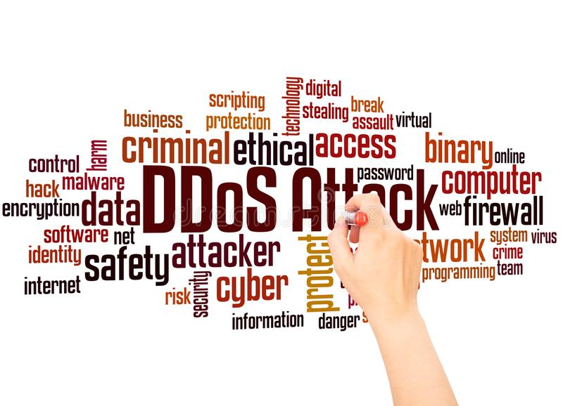 Λέξη επίθεσης DDoS και έννοια σύννεφων γραψίματος χεριών απεικόνιση αποθεμάτων