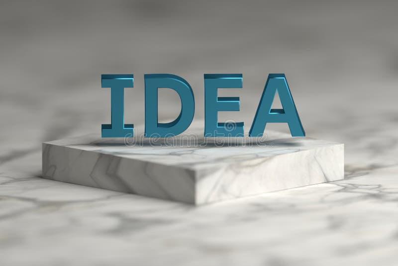 Λέξη ιδέας με την μπλε λαμπρή μεταλλική σύσταση απεικόνιση αποθεμάτων