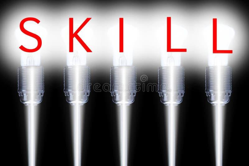 Λέξη ικανότητας στην επιτυχή ανάπτυξη lightbulbs-συμβόλων στοκ φωτογραφία