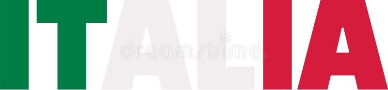 Λέξη Ιταλία σημαιών της Ιταλίας διανυσματική απεικόνιση