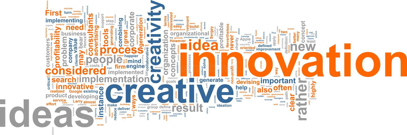 λέξη καινοτομίας σύννεφων διανυσματική απεικόνιση