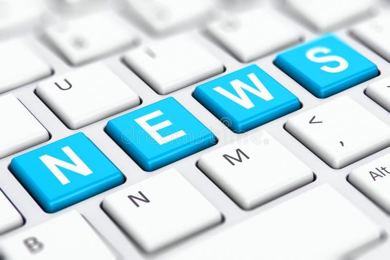 Λέξη κειμένων ειδήσεων στα κλειδιά πληκτρολογίων υπολογιστών απεικόνιση αποθεμάτων