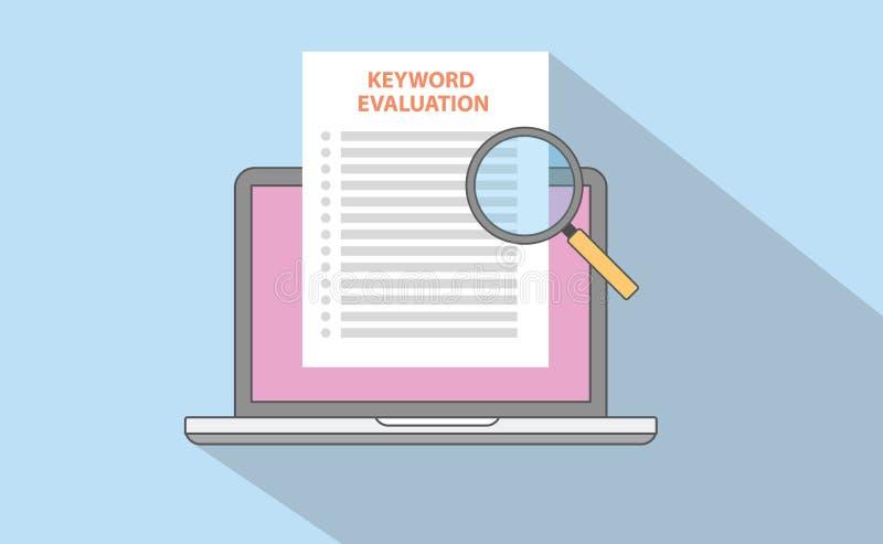 Λέξη κλειδί ή keywording έλεγχος αξιολόγησης ανάλυσης seo μάρκετινγκ με το έγγραφο lap-top και ενίσχυση - γυαλί απεικόνιση αποθεμάτων