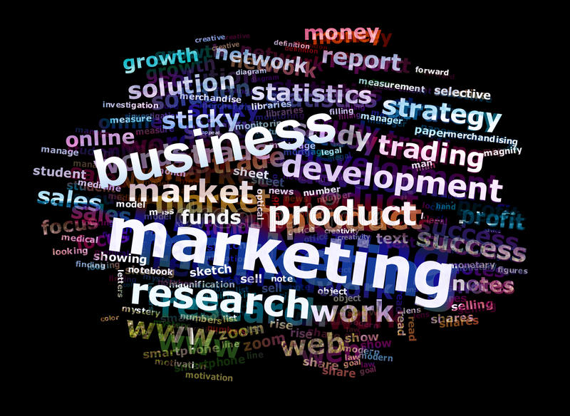 λέξη μάρκετινγκ έννοιας επιχειρησιακών σύννεφων διαφήμισης διανυσματική απεικόνιση