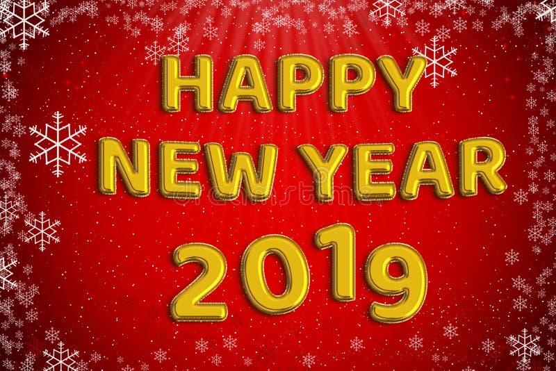 Λέξη μπαλονιών φύλλων αλουμινίου καλής χρονιάς 2019 χρυσή με τα κόκκινα Χριστούγεννα στοκ εικόνες