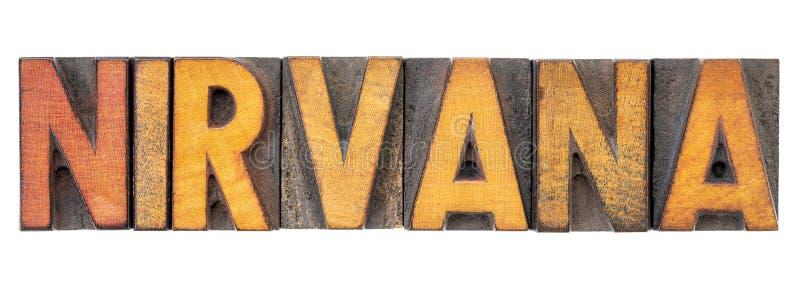Λέξη νιρβάνα letterpress στον ξύλινο τύπο στοκ φωτογραφίες με δικαίωμα ελεύθερης χρήσης