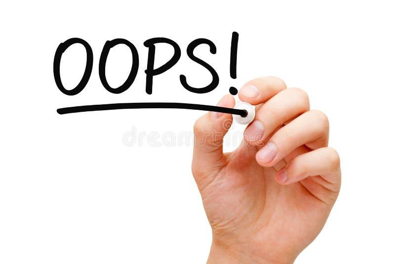 Λέξη ουπς χειρόγραφη με το μαύρο δείκτη στοκ φωτογραφία με δικαίωμα ελεύθερης χρήσης