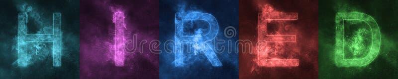 Λέξη που γράφει τις ΜΙΣΘΩΜΕΝΕΣ διαστημικές τυποποιημένες ζωηρόχρωμες επιστολές μισθωμένος απεικόνιση αποθεμάτων