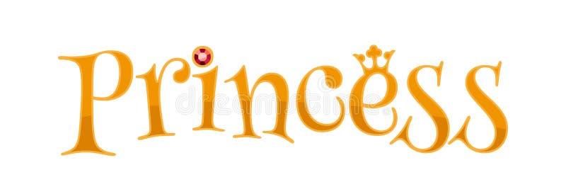 Λέξη πριγκηπισσών - χρυσές επιστολές απεικόνιση αποθεμάτων