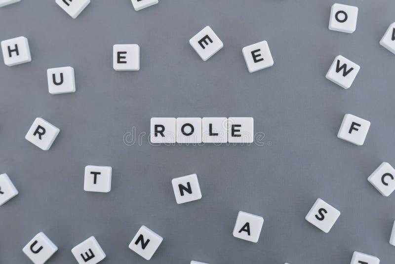 Λέξη ρόλου φιαγμένη από τετραγωνική λέξη επιστολών στο γκρίζο υπόβαθρο στοκ φωτογραφίες με δικαίωμα ελεύθερης χρήσης
