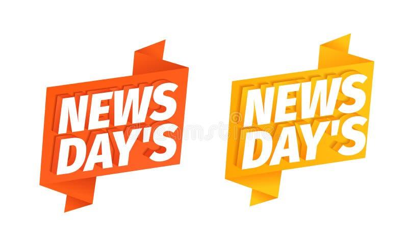 Λέξη τίτλων ημερών ειδήσεων στην κόκκινη και κίτρινη κορδέλλα τρισδιάστατες επιστολές Φρέσκες ειδήσεις της ημέρας Διαφημιστικός τ απεικόνιση αποθεμάτων