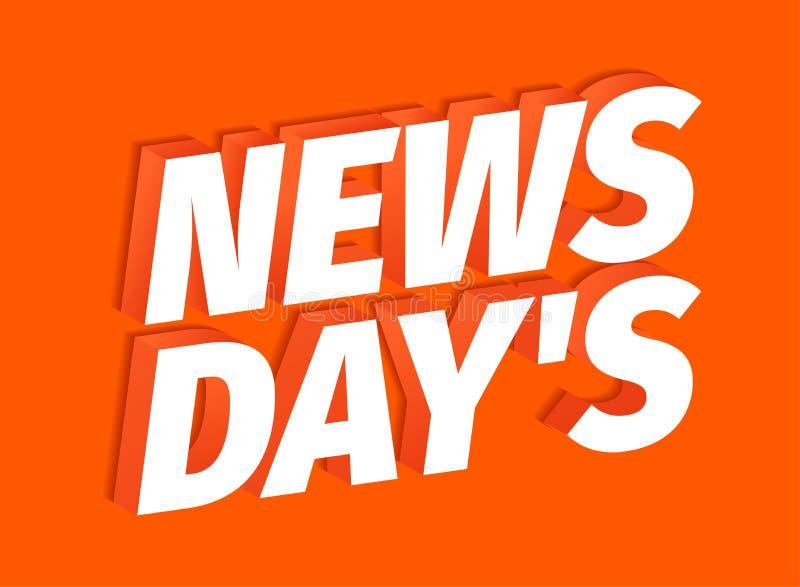 Λέξη τίτλων ημερών ειδήσεων στο κόκκινο υπόβαθρο τρισδιάστατες επιστολές Φρέσκες ειδήσεις της ημέρας Τίτλος τίτλων προώθησης διαφ διανυσματική απεικόνιση