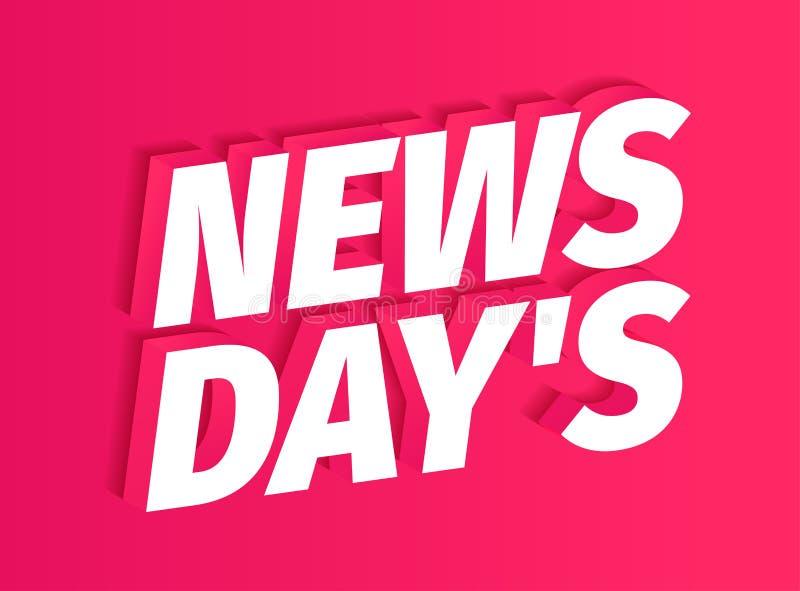 Λέξη τίτλων ημερών ειδήσεων στο ρόδινο υπόβαθρο τρισδιάστατες επιστολές Φρέσκες ειδήσεις της ημέρας Τίτλος τίτλων προώθησης διαφή ελεύθερη απεικόνιση δικαιώματος