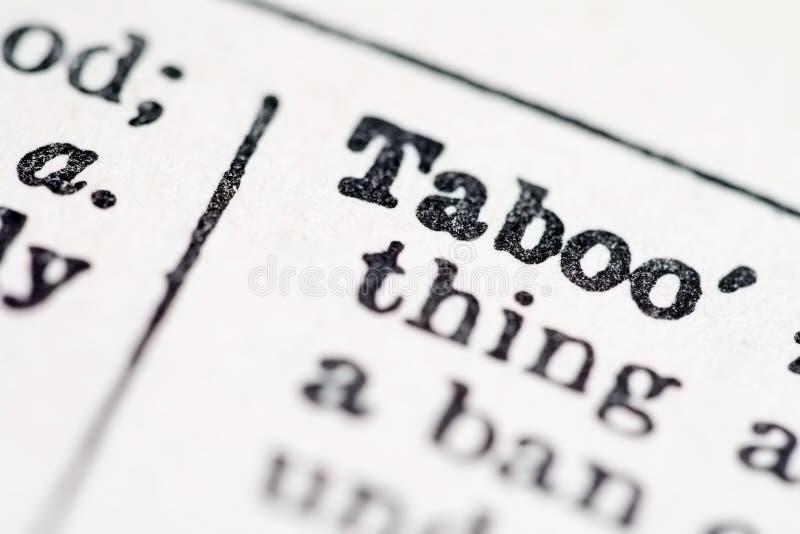 λέξη ταμπού λεξικών στοκ φωτογραφία