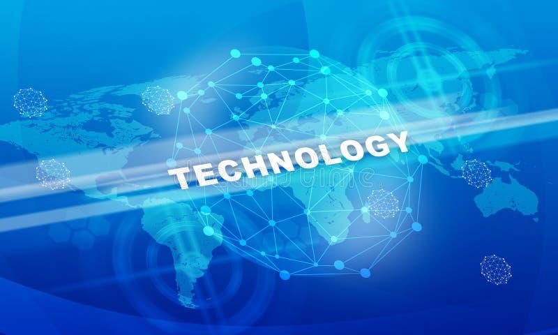 Λέξη τεχνολογίας με τον παγκόσμιο χάρτη απεικόνιση αποθεμάτων