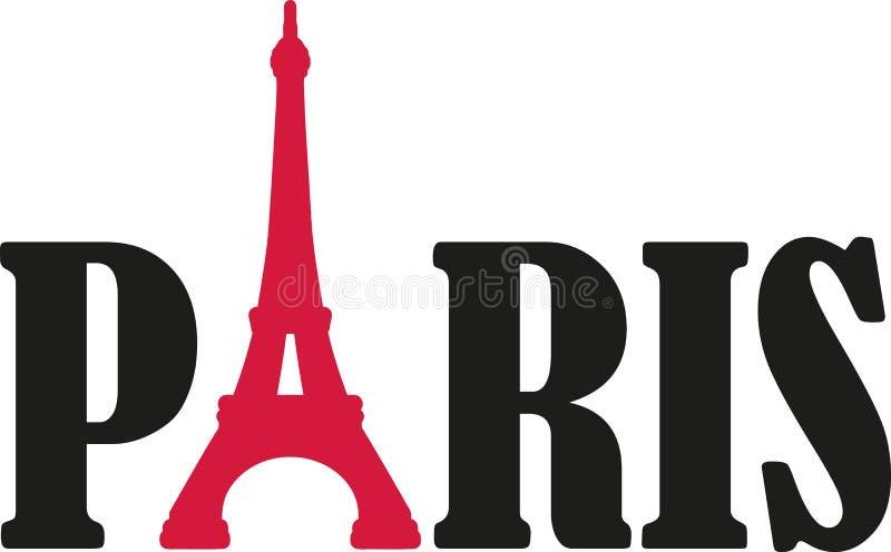 Λέξη του Παρισιού με τον πύργο του Άιφελ διανυσματική απεικόνιση