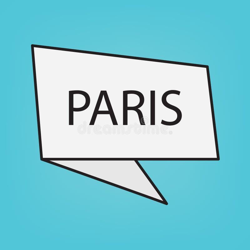Λέξη του Παρισιού στην αυτοκόλλητη ετικέττα απεικόνιση αποθεμάτων