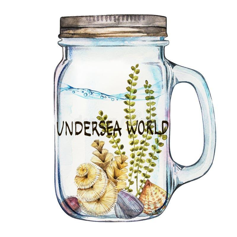 Λέξη-υποθαλάσσιος κόσμος Ανατροπέας Isoleted με το θαλάσσιο τοπίο ζωής - ο ωκεάνιος και υποβρύχιος κόσμος με διαφορετικό απεικόνιση αποθεμάτων