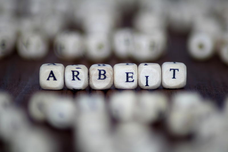 Λέξη ARBEIT με τους φραγμούς η επιχειρησιακή ηγεσία εργασίας χωρίζει σε τετράγωνα την έννοια στοκ φωτογραφία με δικαίωμα ελεύθερης χρήσης