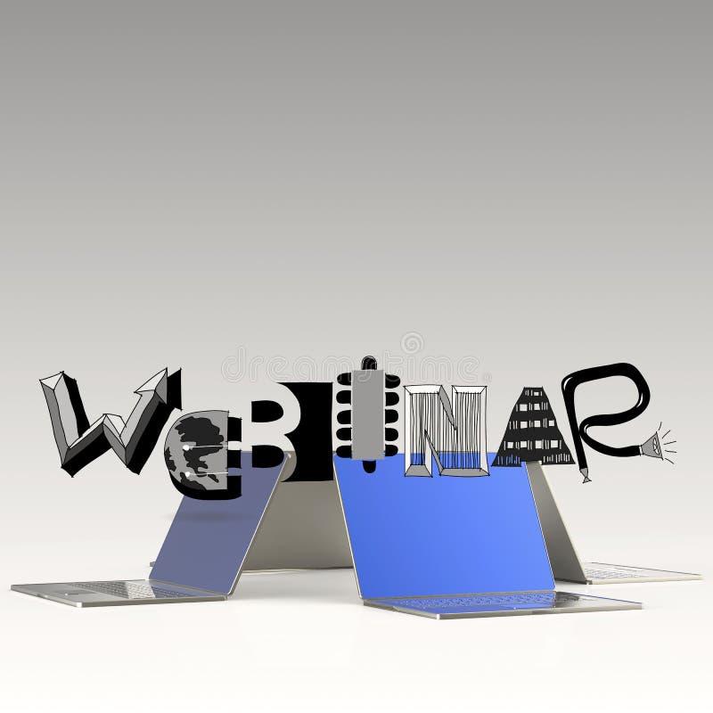Λέξη WEBINAR σχεδίου και τρισδιάστατος υπολογιστής lap-top διανυσματική απεικόνιση