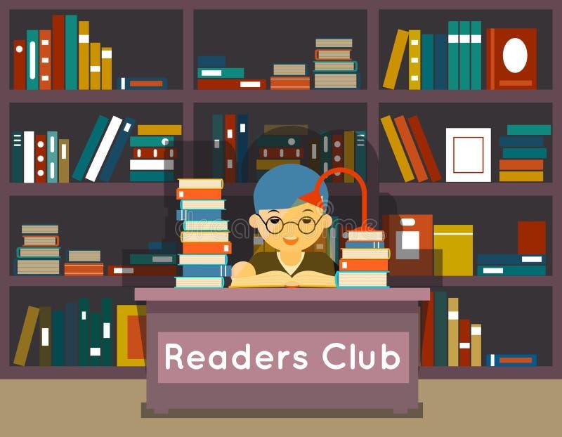 Λέσχη αναγνωστών Εκπαίδευση και αγάπη της ανάγνωσης ελεύθερη απεικόνιση δικαιώματος
