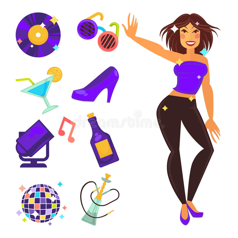 Λέσχη νύχτας κόμματος και χορεύοντας διανυσματικά επίπεδα εικονίδια κοριτσιών απεικόνιση αποθεμάτων