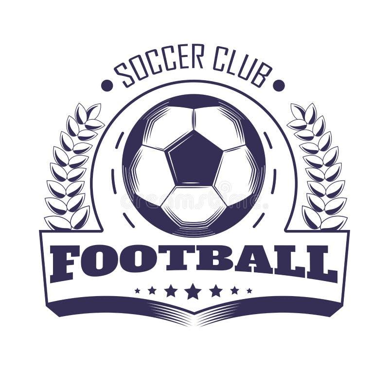Λέσχη ποδοσφαίρου ή διανυσματικό εραλδικό εικονίδιο εμβλημάτων ένωσης ομάδων ποδοσφαίρου της σφαίρας στη δάφνη ελεύθερη απεικόνιση δικαιώματος