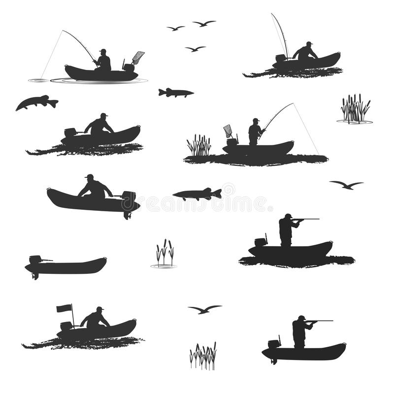 Λέσχη των ψαράδων και των κυνηγών στις βάρκες με μια μηχανή διανυσματική απεικόνιση