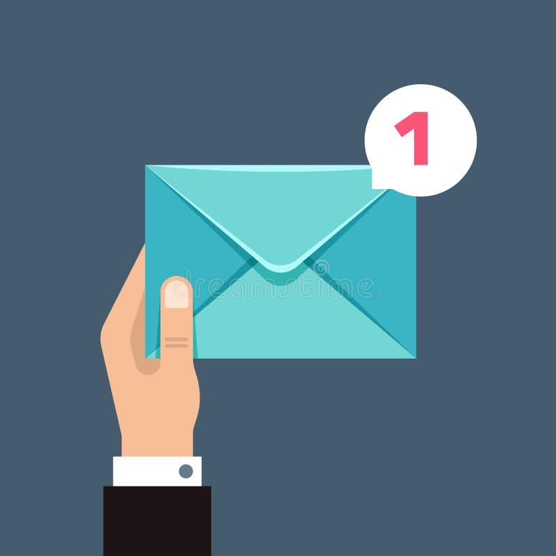 Λήψη της διανυσματικής έννοιας μηνυμάτων με το φάκελο στο χέρι χρηστών απεικόνιση αποθεμάτων