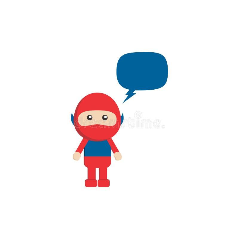 λίγα επίπεδα κινούμενα σχέδια superhero με τη φυσαλίδα συνομιλίας απεικόνιση αποθεμάτων