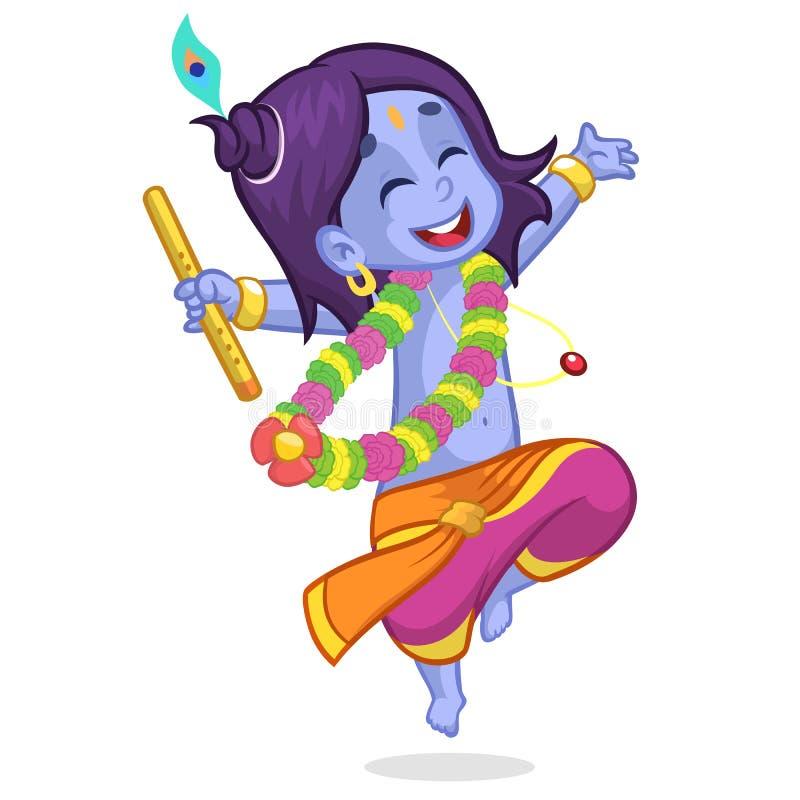 Λίγα κινούμενα σχέδια Krishna με τα μάτια έκλεισαν το χορό με ένα φλάουτο Ευχετήρια κάρτα για τα γενέθλια Krishna επίσης corel σύ απεικόνιση αποθεμάτων
