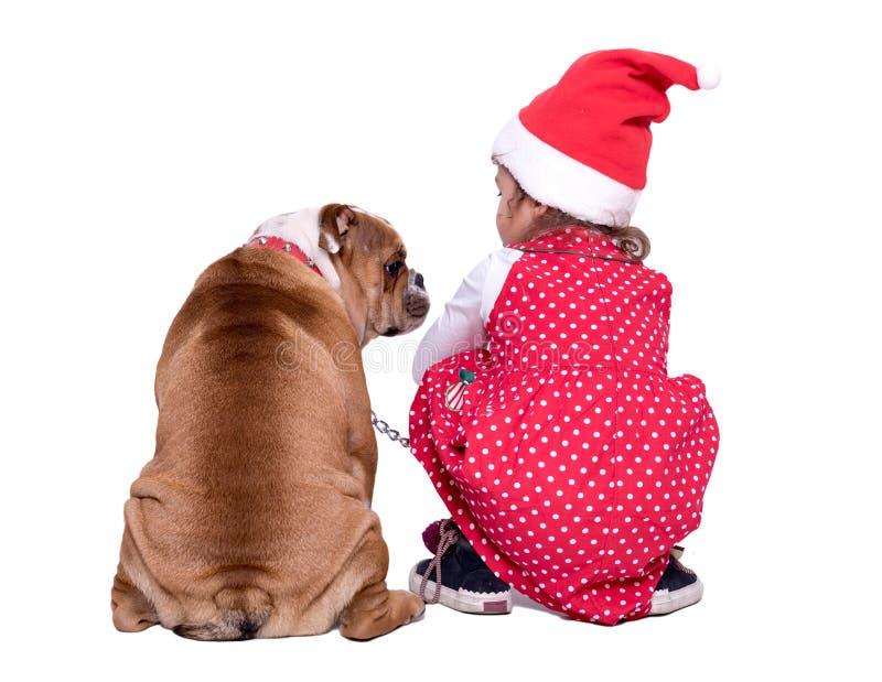 Λίγα Santa και σκυλί στοκ εικόνα