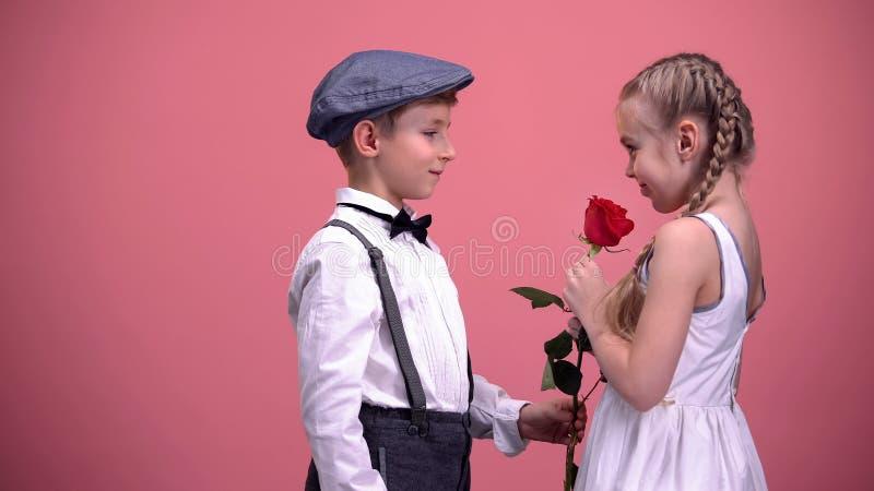 Λίγη αρσενική παρουσίαση παιδιών κόκκινη ανήλθε στη φίλη, πρώτη αγάπη, ρομαντική ημερομηνία στοκ εικόνες