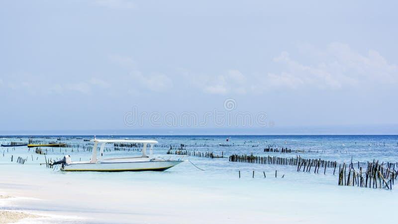 Λίγη βάρκα στο νερό στην παραλία με το μπλε ουρανό στο υπόβαθρο στοκ φωτογραφία με δικαίωμα ελεύθερης χρήσης