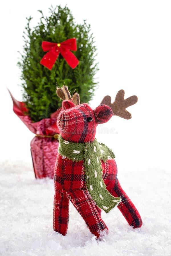 Λίγη γεμισμένη τάρανδος ζωική διακόσμηση Χριστουγέννων στοκ εικόνες με δικαίωμα ελεύθερης χρήσης