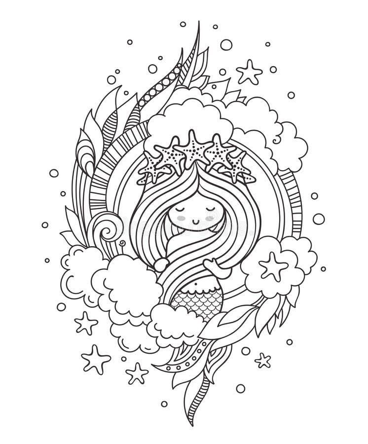 Λίγη γοργόνα με το στεφάνι του αστερία, που περιβάλλεται από τα σύννεφα διανυσματική απεικόνιση