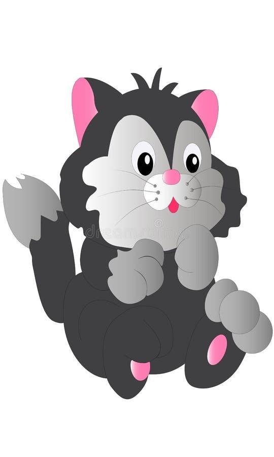 Λίγη διανυσματική απεικόνιση κινούμενων σχεδίων γατακιών χαμόγελου χαριτωμένη εύθυμη γκρίζα στοκ εικόνα