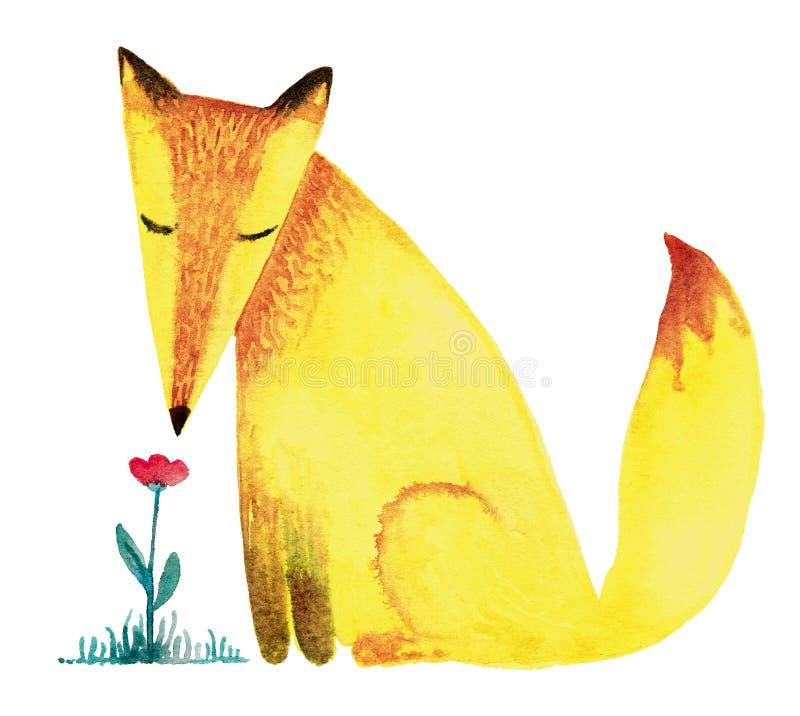 Λίγη κίτρινη αλεπού και ένα λουλούδι Απεικόνιση Watercolor που απομονώνεται στο άσπρο υπόβαθρο, για τα γενέθλια ή μια ευχετήρια κ ελεύθερη απεικόνιση δικαιώματος