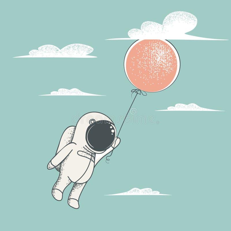 Λίγη μύγα αστροναυτών με το κόκκινο μπαλόνι ελεύθερη απεικόνιση δικαιώματος