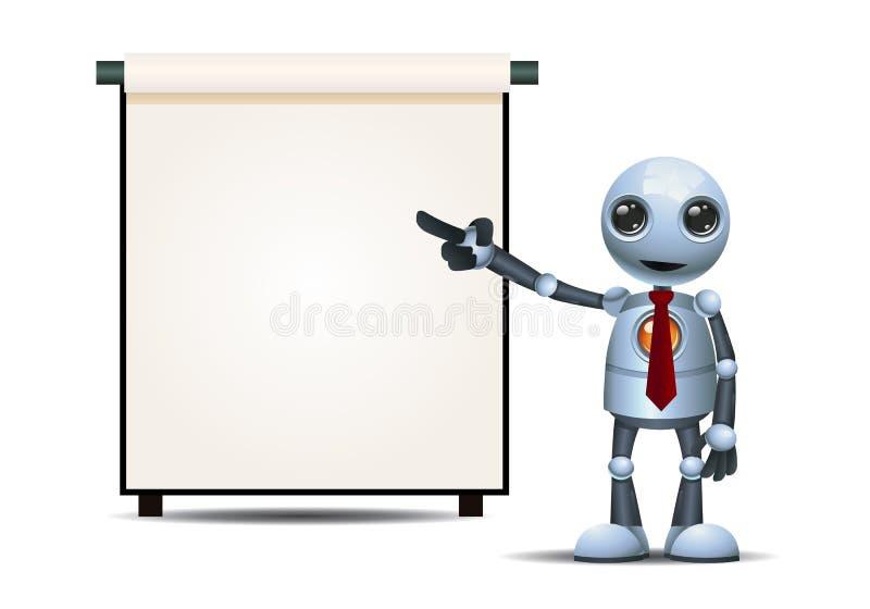 λίγη παρουσίαση επιχειρηματιών ρομπότ για το απομονωμένο άσπρο υπόβαθρο διανυσματική απεικόνιση